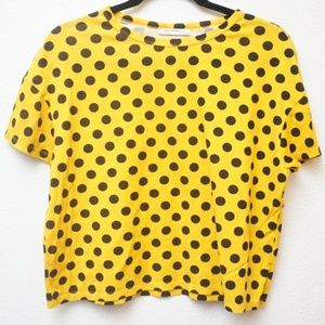 Zara Trafaluc Yellow Polka Dot Crop Top Size S